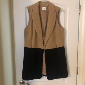 Women's Camel and Black Wool Vest